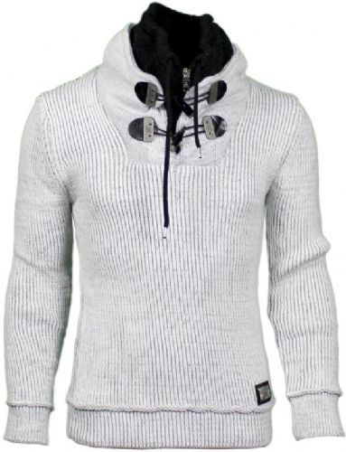 Fargo Designer Cable Hooded Jumper Toggle and Draw String Ecru Grey